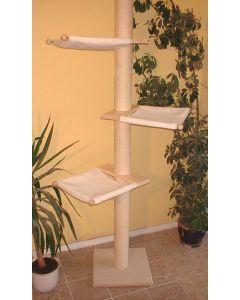 Der einfache, schlanke Deckenkratzbaum Jacky O. von Pet Fun wird mit dem Deckenspanner fest an der Decke verankert und ist mit 3 Hängematten ausgestattet.