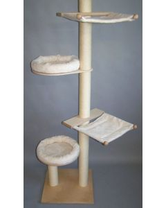 Deckenkratzbaum Juliette aus Vollholz und Sisal mit zwei Bettchen und zwei Hängematten – auch für schwere Katzen