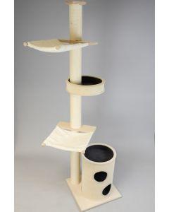Schlank und stabil genug auch für große Katzen – Deckenkratzbaum Kerstin aus Vollholz und Sisal mit Kratztonne, Randschale und zwei Hängematten