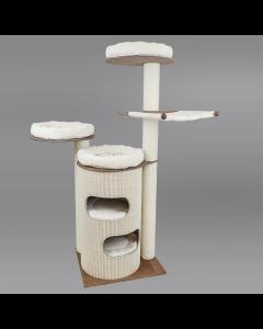 Mit Sisal-Retrotonne und diversen Bettchen wird Kratzbaum Nilay Schlafplatz und Spielzimmer für Katzen in einem