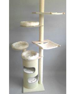 Deckenkratzbaum Sonja – mit 3 Bettchen, 2 Hängematten und Retrotonne ausgestattet