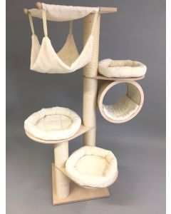climbing tree for cats named Uschi - free standing, three beds, massiv wooden poles